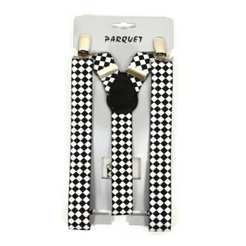 6pc Men's Y-Back Diamond Checkered Adjustable Elastic Clip-on Suspenders