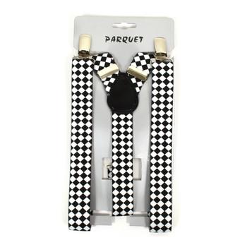 Men's Y-Back Diamond Checkered Adjustable Elastic Clip-on Suspenders