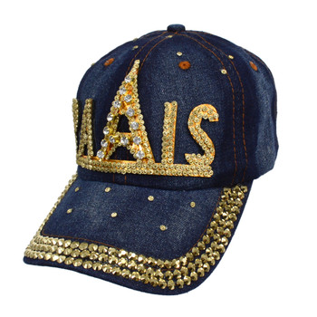 "Bling Studs ""Paris"" Denim Cap, Hat"