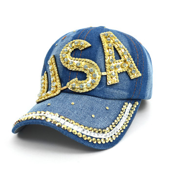 "Bling Studs ""USA"" Denim Cap, Hat"