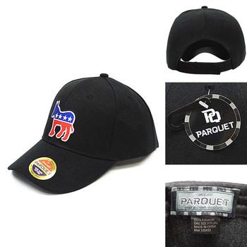 Democrat Donkey Black Embroidered Baseball Cap