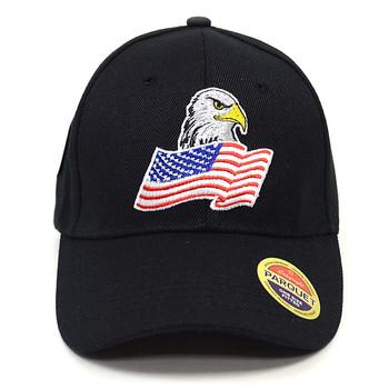 American Flag & Eagle Black Embroidered Baseball Cap, Hat