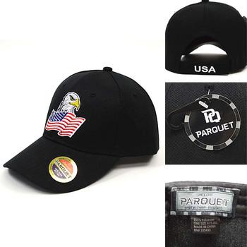 American Flag & Eagle Black Embroidered Baseball Cap