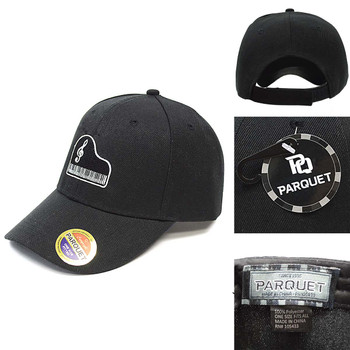 Piano Keyboard & Music Note Black Embroidered Baseball Cap
