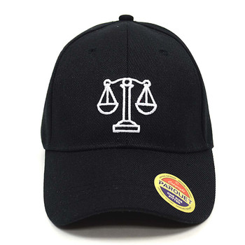Law Justice Symbol Black Embroidered Baseball Cap