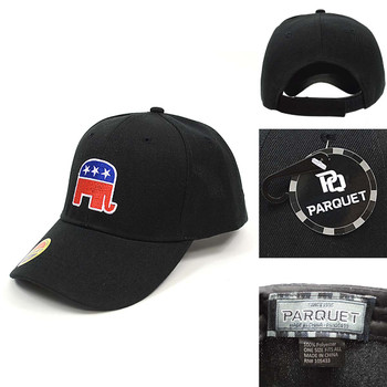 Republican Elephant Black Embroidered Baseball Cap