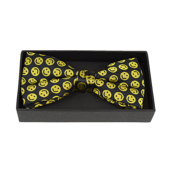Men's Yellow Smile Face Banded Bow Tie