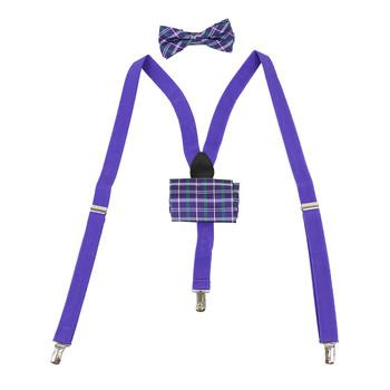 3pc Men's Purple Clip-on Suspenders, Plaid Bow Tie & Hanky Sets FYBTHSU-PU28