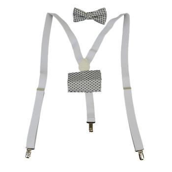 3pc Men's White Clip-on Suspenders, Bow Tie and Hanky Sets FYBTHSU9