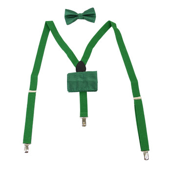 3pc Men's Green Clip-on Suspenders, Dotted Bow Tie & Hanky Sets FYBTHSU-GN18