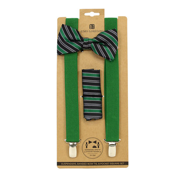 3pc Men's Green Clip-on Suspenders, Striped Pattern Bow Tie & Hanky Sets FYBTHSU-GN31
