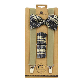 3pc Men's Taupe Brown Clip-on Suspenders, Bow Tie and Hanky Sets FYBTHSU23
