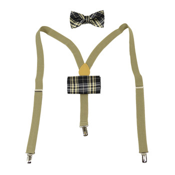3pc Men's Taupe Clip-on Suspenders, Bow Tie and Hanky Sets FYBTHSU23