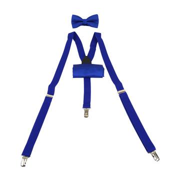 3pc Men's Solid Color Clip-on Suspenders, Bow Tie and Hanky Sets SDBTHSU1