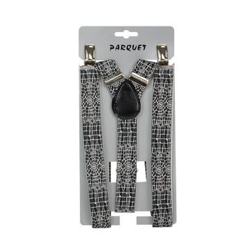 Men's Y-Back Spiderweb Adjustable Elastic Black Clip-on Suspenders