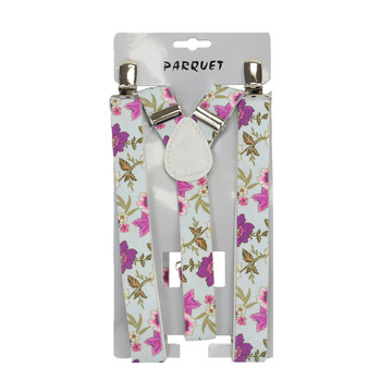 6pc Men's Y-Back Flowers Adjustable Elastic Clip-on Suspenders