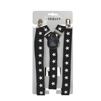 Men's Y-Back Stars Adjustable Elastic Black Clip-on Suspenders