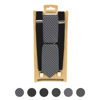 3pc Men's Black Clip-on Suspenders and Dot Necktie Sets