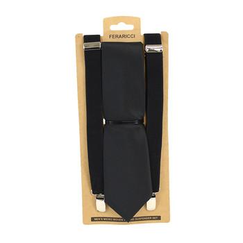 3pc Men's Black Clip-on Suspenders and Dot Tie Sets