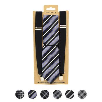 3pc Men's Black Clip-on Suspenders and Plaid Necktie Sets
