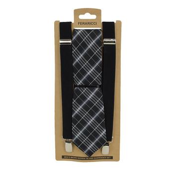 3pc Men's Black Clip-on Suspenders and Plaid Tie Sets