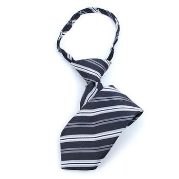 "Boy's 11"" Striped Black Zipper Tie"