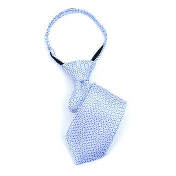 """Boy's 11"""" Grid Sky Blue Zipper Tie"""