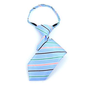 """Boy's 11"""" Striped Baby Blue Zipper Tie"""