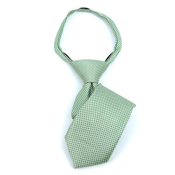 "Boy's 11"" Geometric Lime Zipper Tie"
