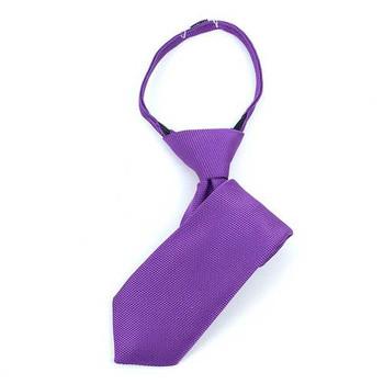 "Boy's 11"" Solid Purple Zipper Tie"
