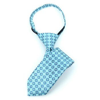 "Boy's 11"" Geometric Turquoise Zipper Tie"