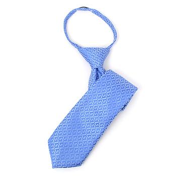 "Boy's 14"" Geometric Light Blue Zipper Tie"