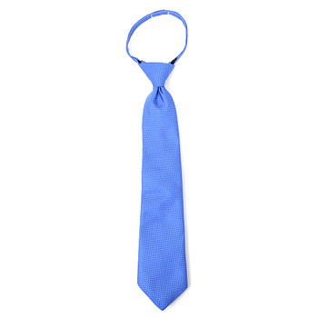 "Boy's 14"" Pindot Blue Zipper Tie"
