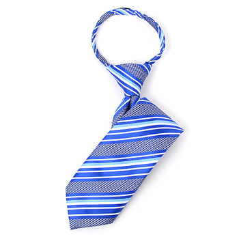 """Boy's 14"""" Striped Blue Zipper Tie"""