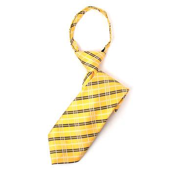 "Boy's 14"" Woven Plaid Yellow Zipper Tie"