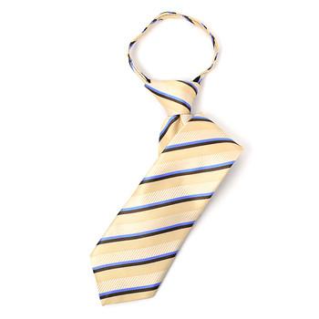 "Boy's 14"" Striped Tan Zipper Tie"