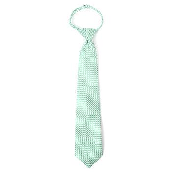 """Boy's 14"""" Grid Green Zipper Tie"""