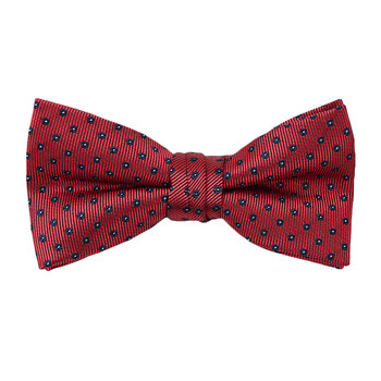"""Boy's 2"""" Burgundy Dotted Polyester Woven Banded Bow Tie FBB32"""