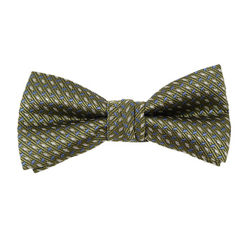 """Boy's 2"""" Olive Dotted Polyester Woven Banded Bow Tie FBB40"""