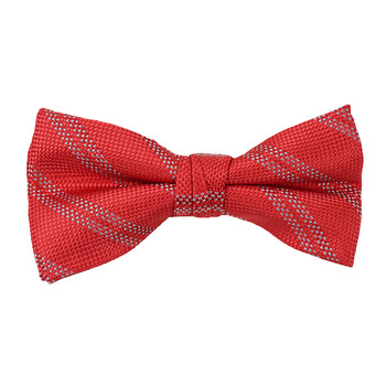 "Boy's 2"" Red Striped Polyester Woven Banded Bow Tie FBB42"