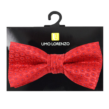 "Boy's 2"" Red Dotted Polyester Woven Banded Bow Tie FBB44"