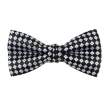 "Boy's 2"" Black & White Checkered Polyester Woven Banded Bow Tie FBB45"