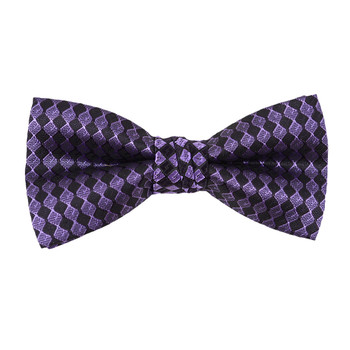 "Boy's 2"" Purple & Black Checkered Polyester Woven Banded Bow Tie FBB47"