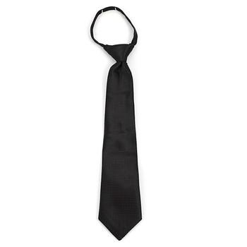 "Boy's 14"" Black Grid Zipper Tie MPWZ14-01"
