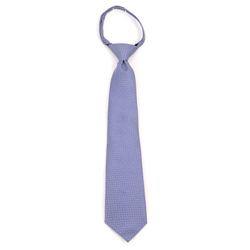 "Boy's 14"" Blue & White Dots Zipper Tie MPWZ14-09"