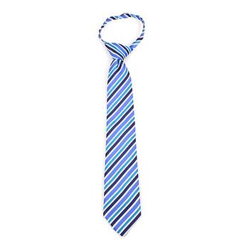 """Boy's 14"""" Blue & Teal Stripes Zipper Tie MPWZ14-11"""