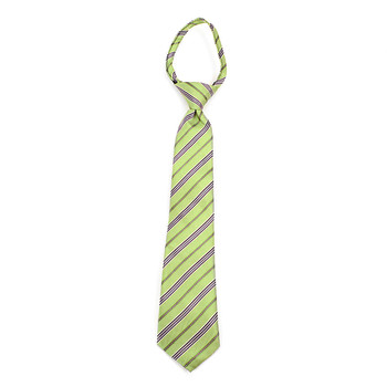 "Boy's 14"" Green & Gray Stripes Zipper Tie MPWZ14-12"