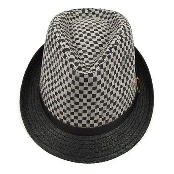 Spring/Summer Two-Tone Woven Gray Trilby Fedora Hat with Faux Leather Trim - H10210