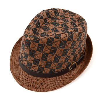 Spring/Summer Two-Tone Woven Brown Trilby Fedora Hat with Faux Leather Trim - H10209