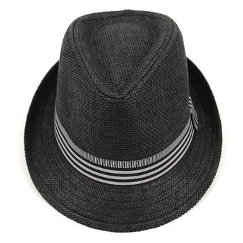 Spring/Summer Black Trilby Fedora Hat with Stripe Trim - H10207